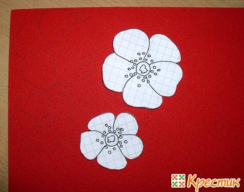 Цветы из фетра мастер класс