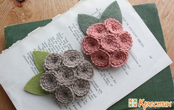Розы из фетра фото 2
