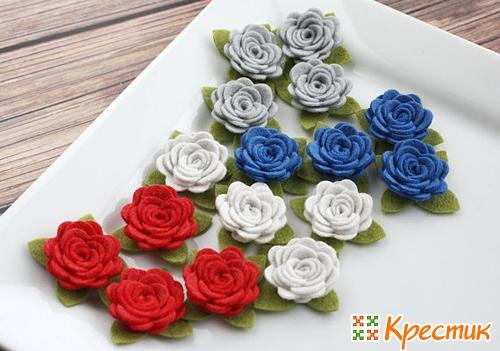 Розы из фетра фото 3