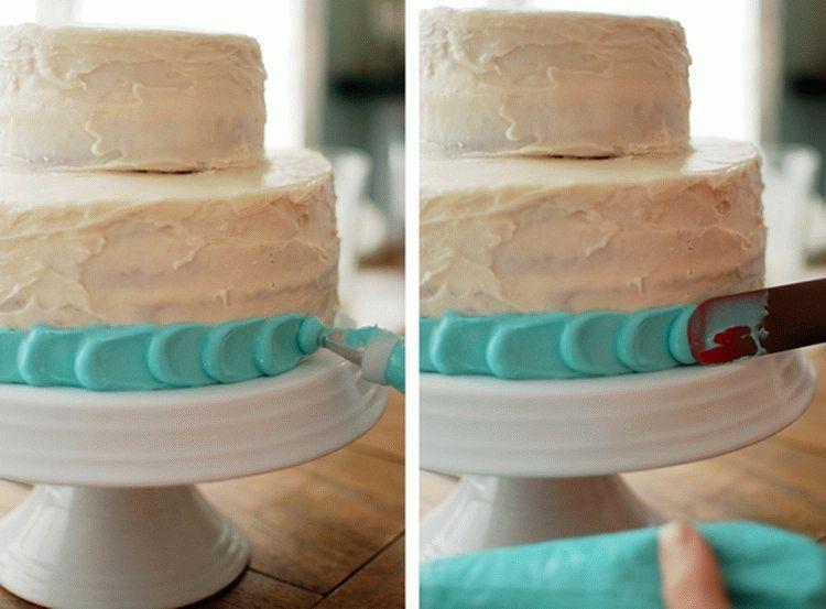 Простой способ украшения торта кремом