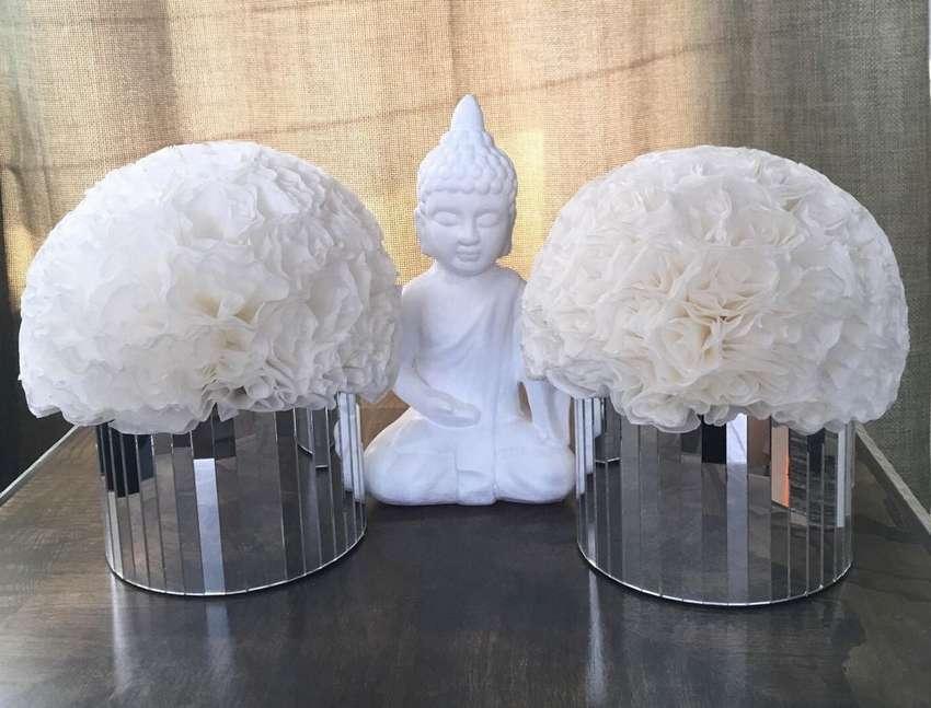 белые цветы из кофейных фильтров