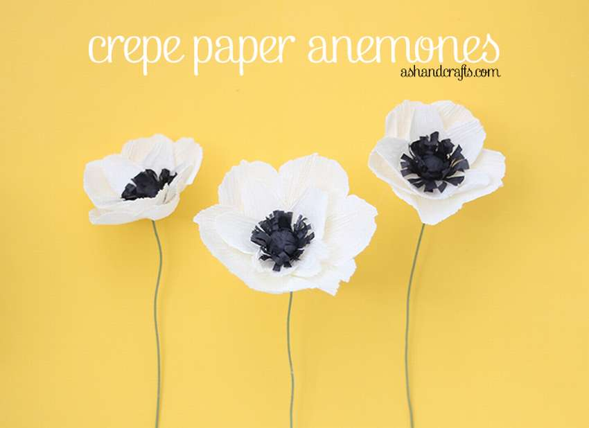 анемоны из белой гофрированной бумаги