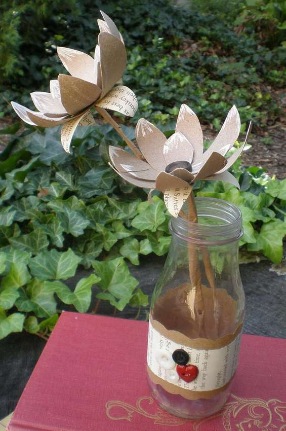 цветы из картонных втулок