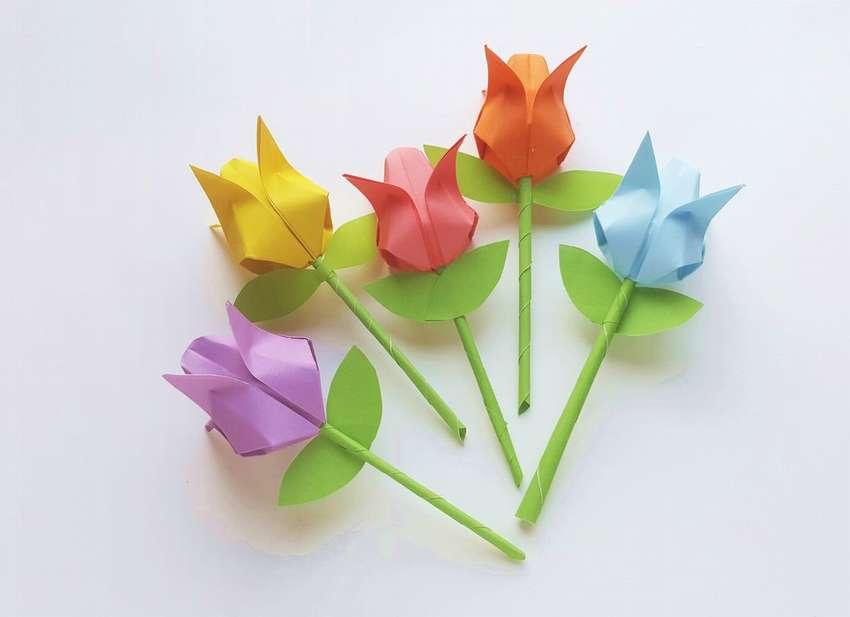тюльпаны из оригами своими руками