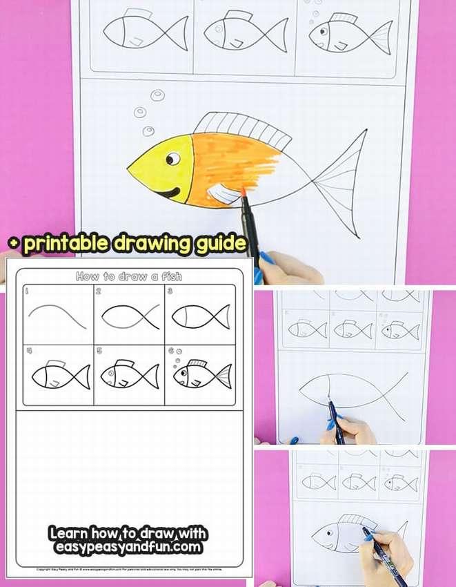 как нарисовать рыбку для детей поэтапно