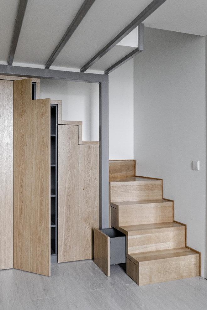 шкаф под лестничным пролетом в интерьере