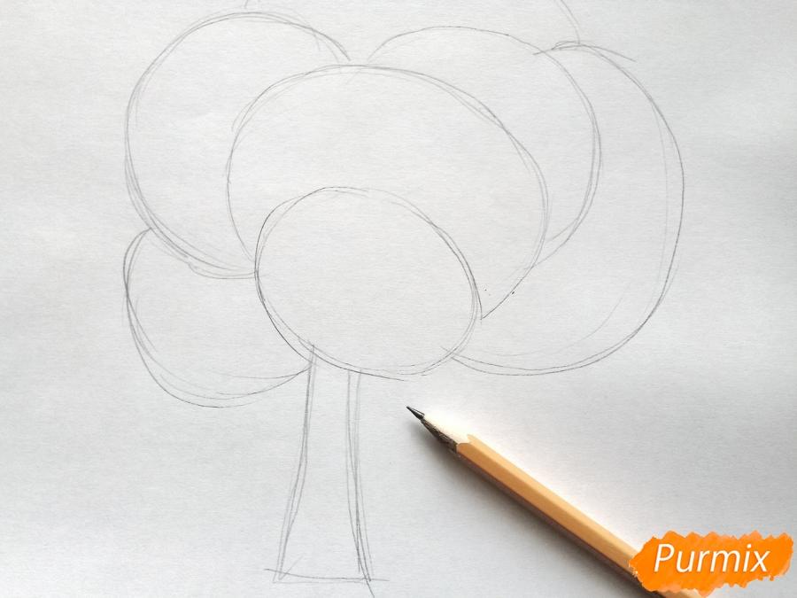 Рисуем букет из кленовых листьев - шаг 1