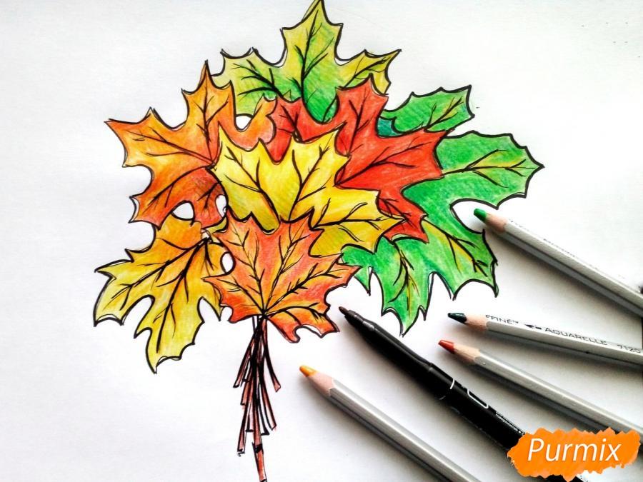 Рисуем букет из кленовых листьев - шаг 10