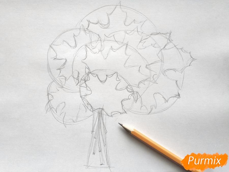 Рисуем букет из кленовых листьев - шаг 2