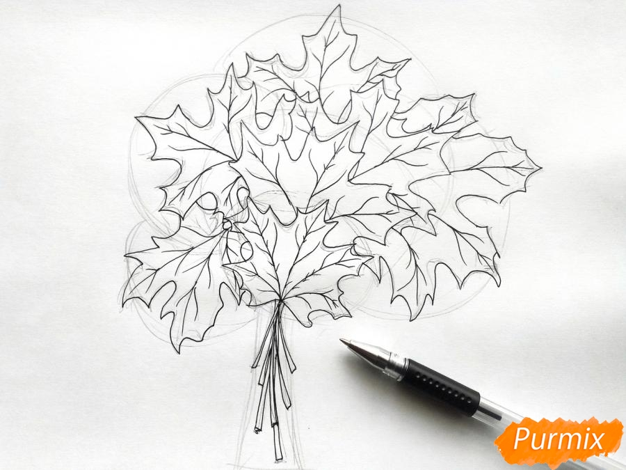 Рисуем букет из кленовых листьев - шаг 4