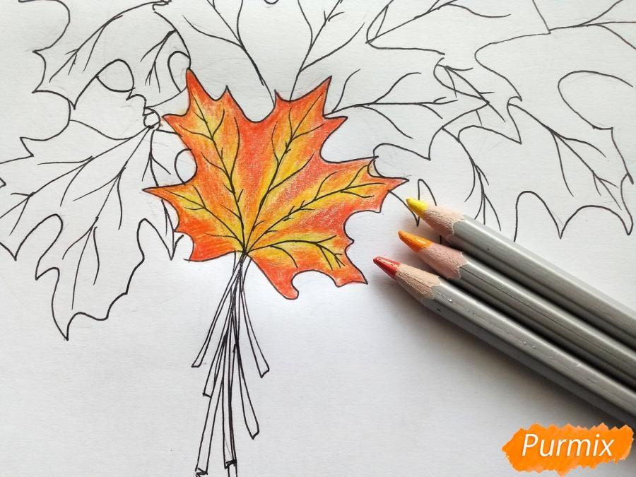 Рисуем букет из кленовых листьев - шаг 5