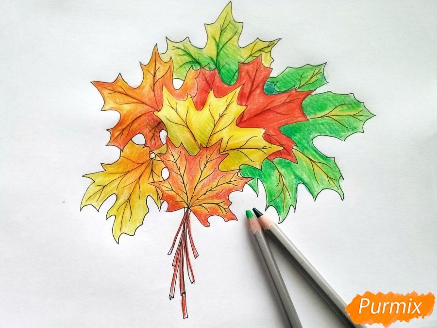 Рисуем букет из кленовых листьев - шаг 8