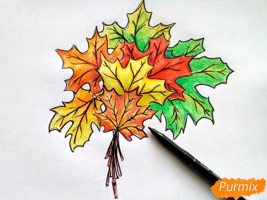 Рисуем букет из кленовых листьев - шаг 9