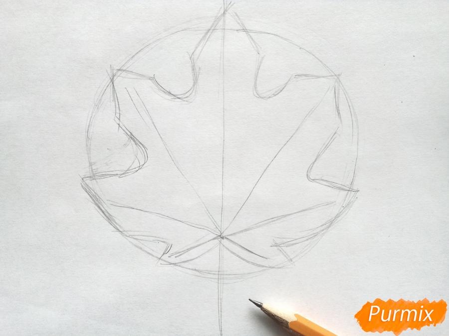 Рисуем кленовый лист цветными карандашами - шаг 2