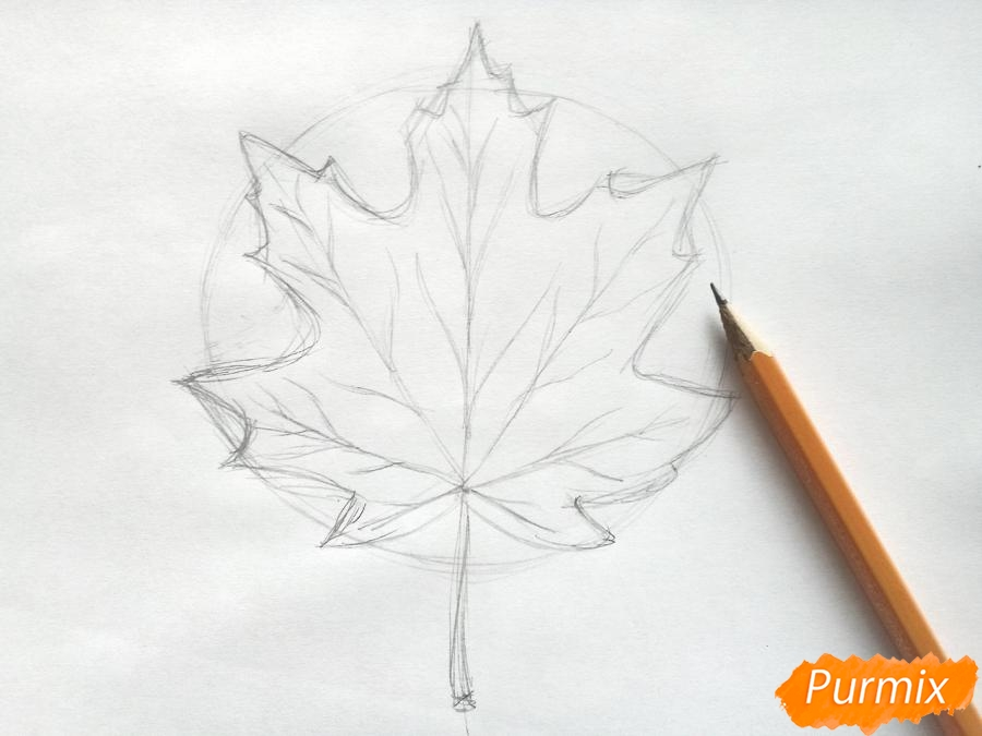 Рисуем кленовый лист цветными карандашами - шаг 3
