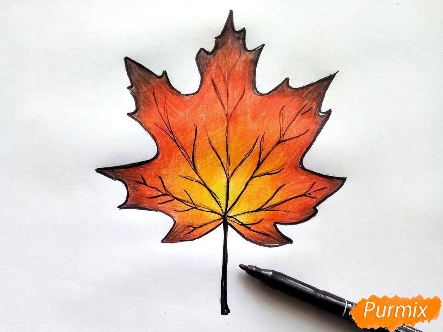 Рисуем кленовый лист цветными карандашами - шаг 7