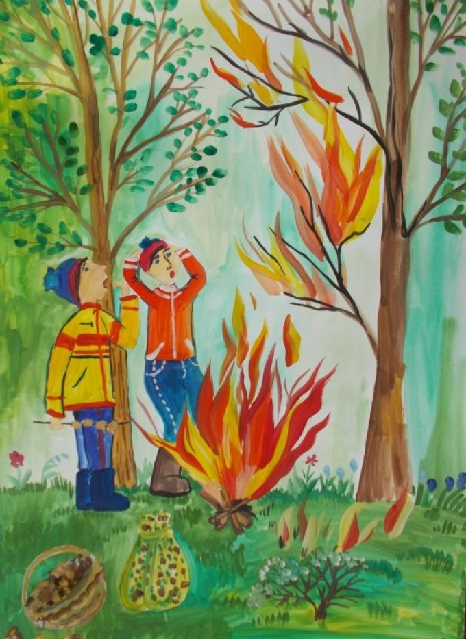 Пожарная безопасность для детей в картинках в лесу