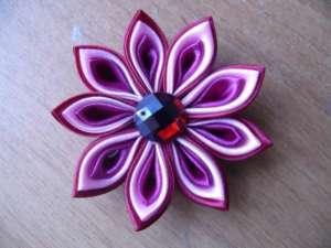 Фиолетовая заколка канзаши