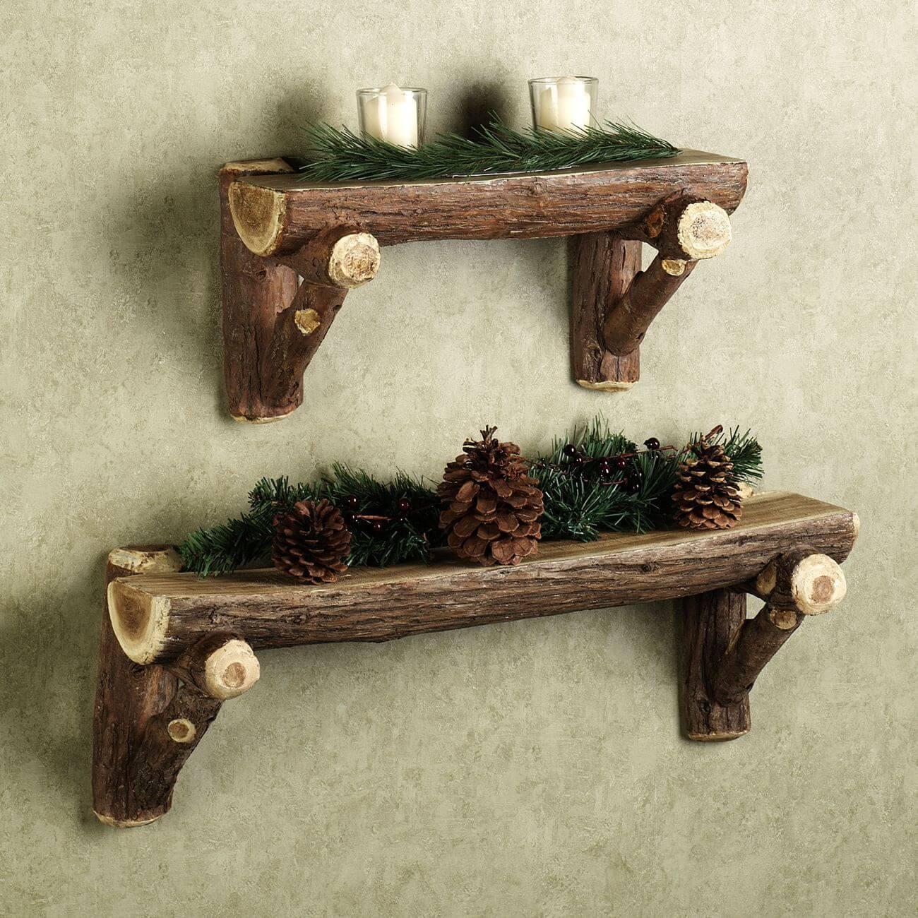 Оригинальные деревянные полки из сосны
