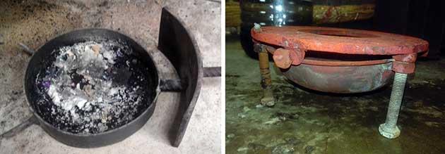Железная чаша для сжигания отработки в капельной печи
