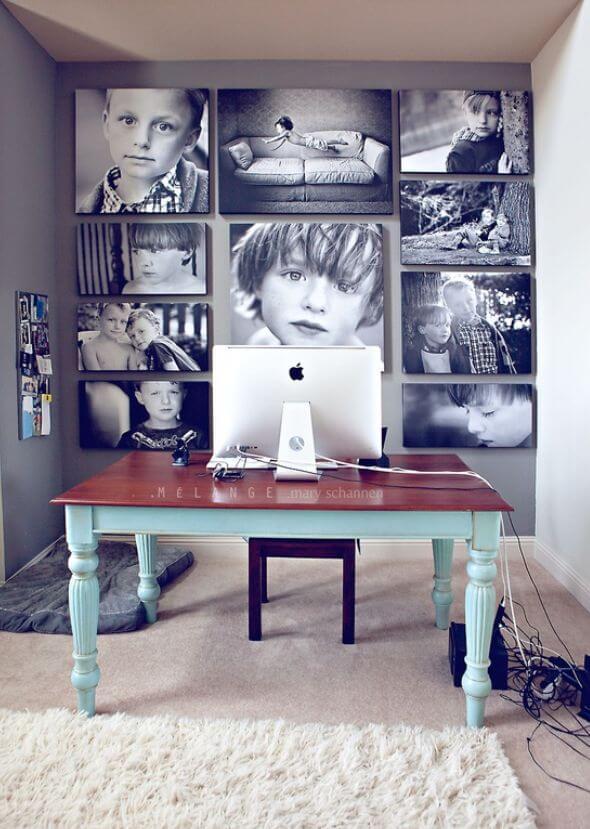Семейный коллаж из черно-белых фотографий
