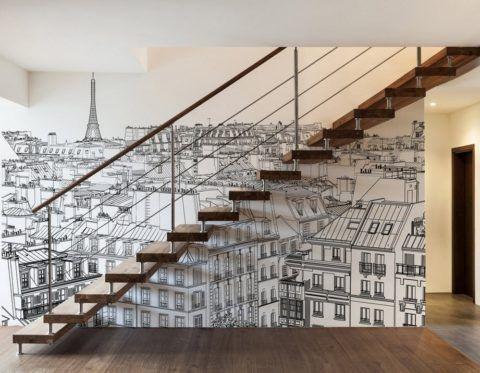 Фотообои вдоль одномаршевой лестницы