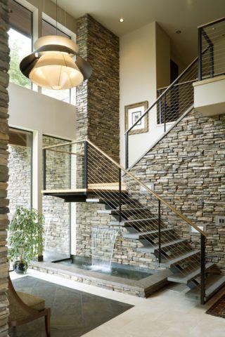 Каменная облицовка в интерьере в современном стиле