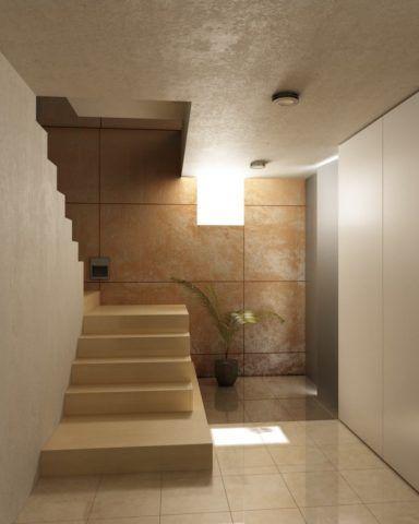 Отделка стен декоративной штукатуркой в прихожей в современном стиле