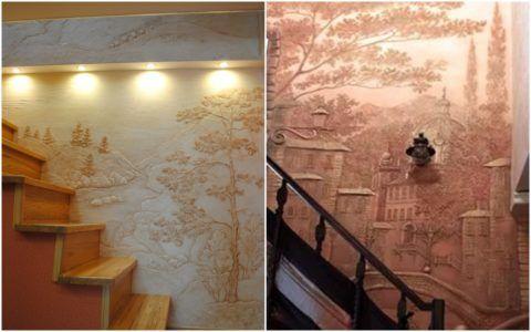 Отделка стен у лестницы декоративной штукатуркой
