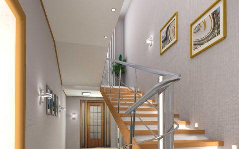 Отделка стены лестницы обоями нейтрального цвета позволяет создать фон для декоративных деталей