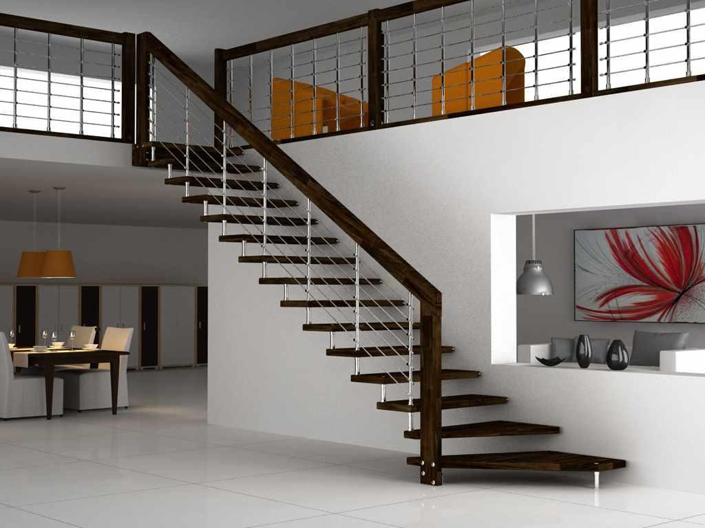 вариант светлого стиля лестницы