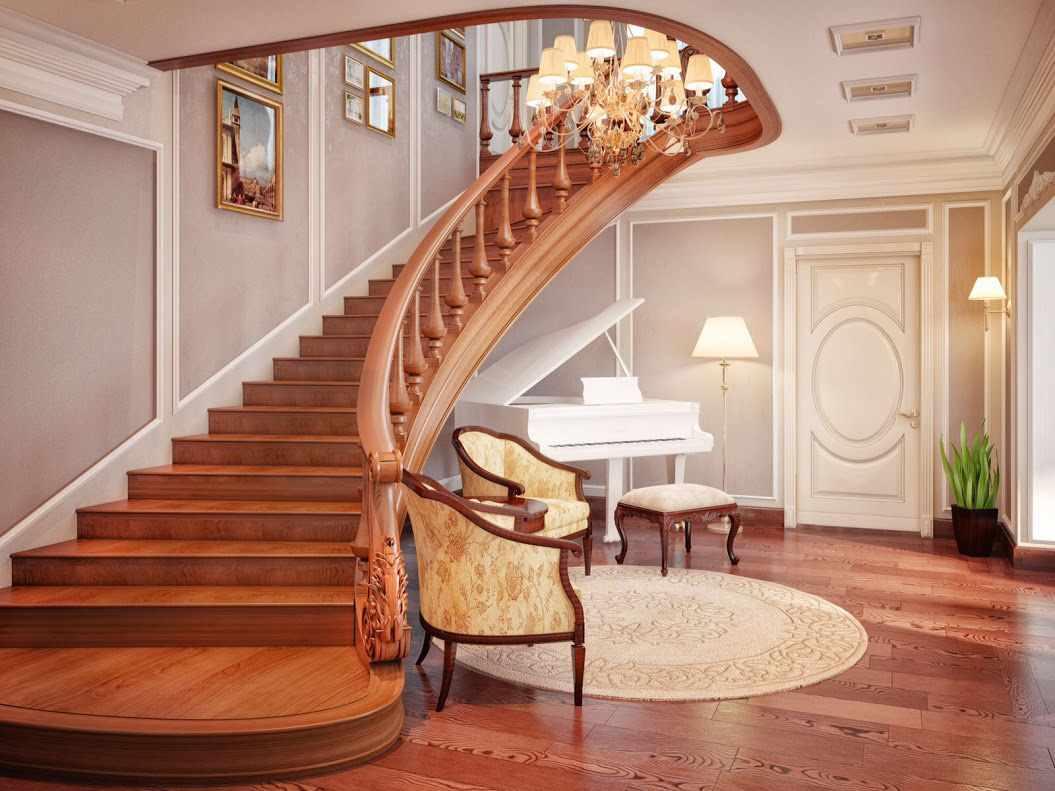 идея необычного стиля лестницы в честном доме