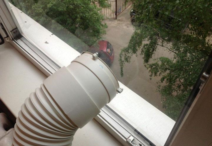 коротка гофра вывод от напольного кондиционера в окно