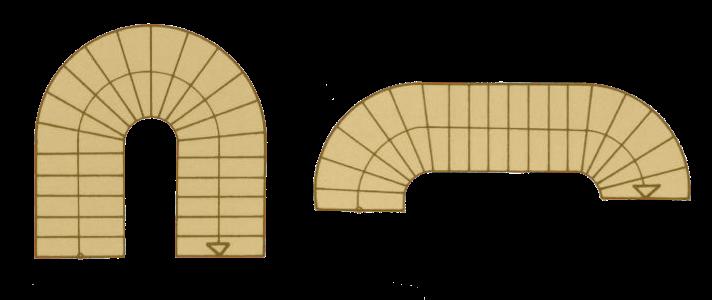 Забежная лестница с одним и двумя поворотами