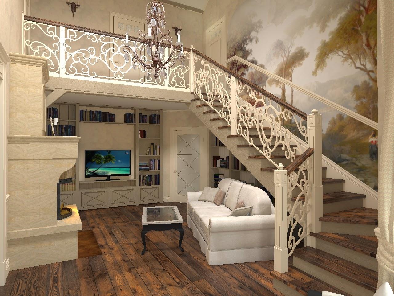 неделю одно гостиная с лестницей фото в стиле прованс чем