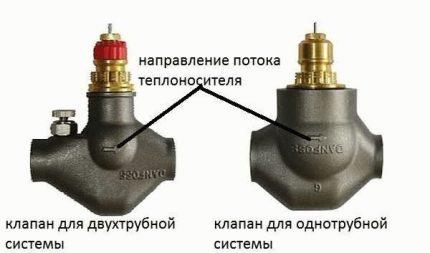 Направление движения теплоносителя на клапане
