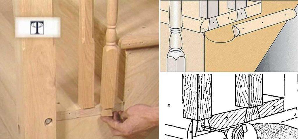 Как можно крепить балясины к полу на лестнице на косоурах