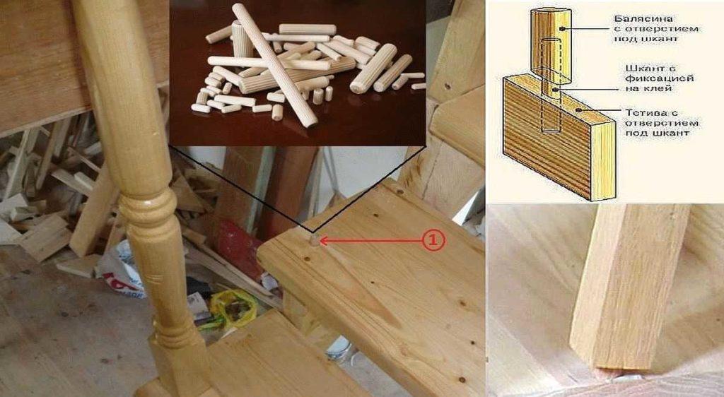 Как крепить балясины к ступеням и перилам: сборка на шканты