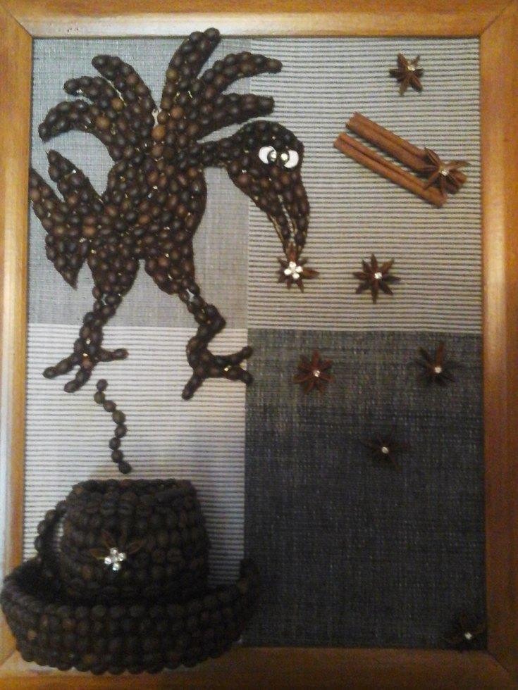 Картинки из кофейных зерен кошки