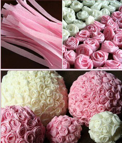 Шар в розах из бумаги своими руками