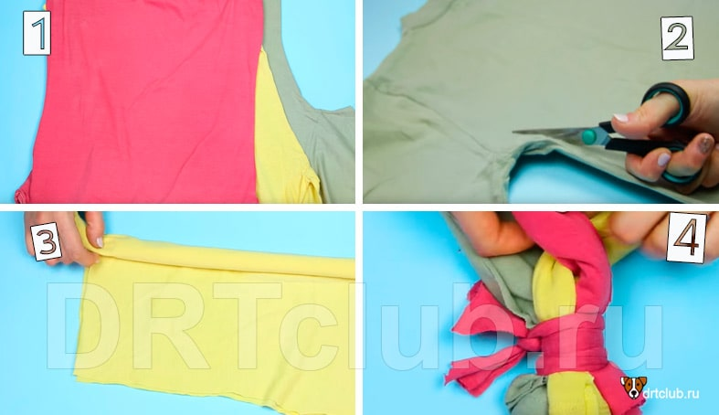 Плетём косичку из футболок