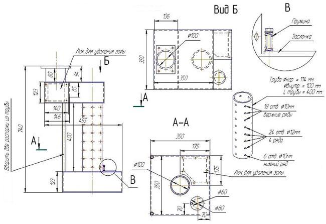 чертеж простейшей конструкции печи на отработке