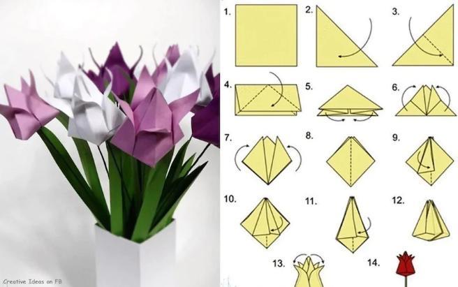 Цветы из бумаги — схемы и шаблоны для создания бумажных цветов этап 132