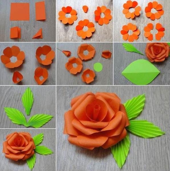Цветы из бумаги — схемы и шаблоны для создания бумажных цветов этап 30