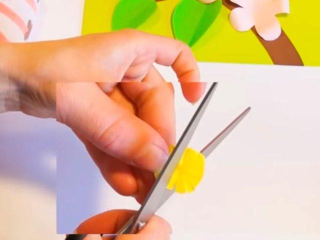 Создание аппликации веточки яблони с цветами