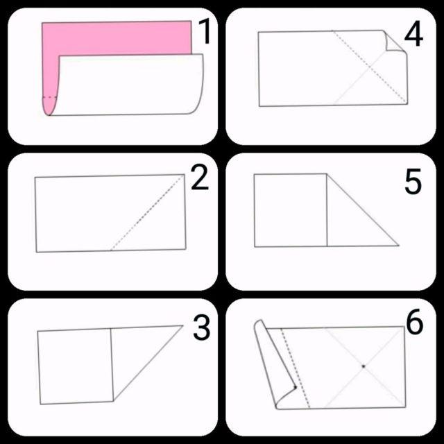 Оригами цветов яблони - схема