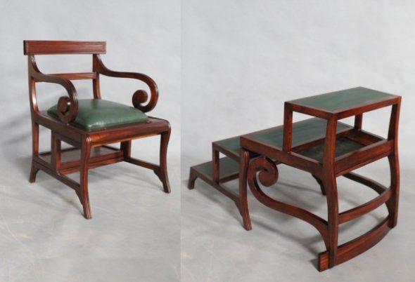 Красивый деревянный стул-стремянка