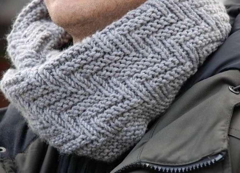 Модные и современные узоры для мужского шарфа спицами с пояснениями и схемами
