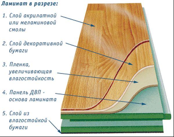 ламинат в разрезе