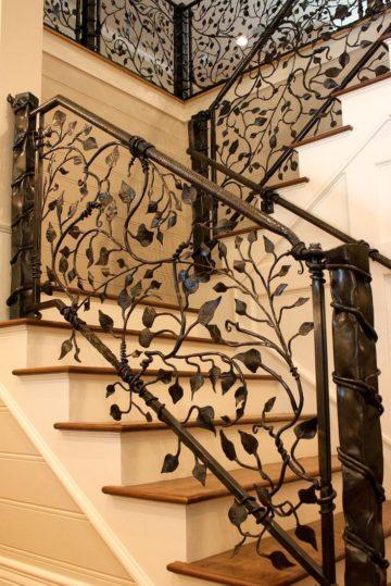 Кованые перила для лестниц на заказ, цена производства, фото